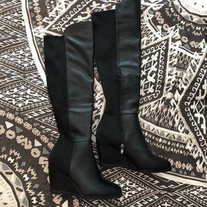 Knee High Wedge Black Boots